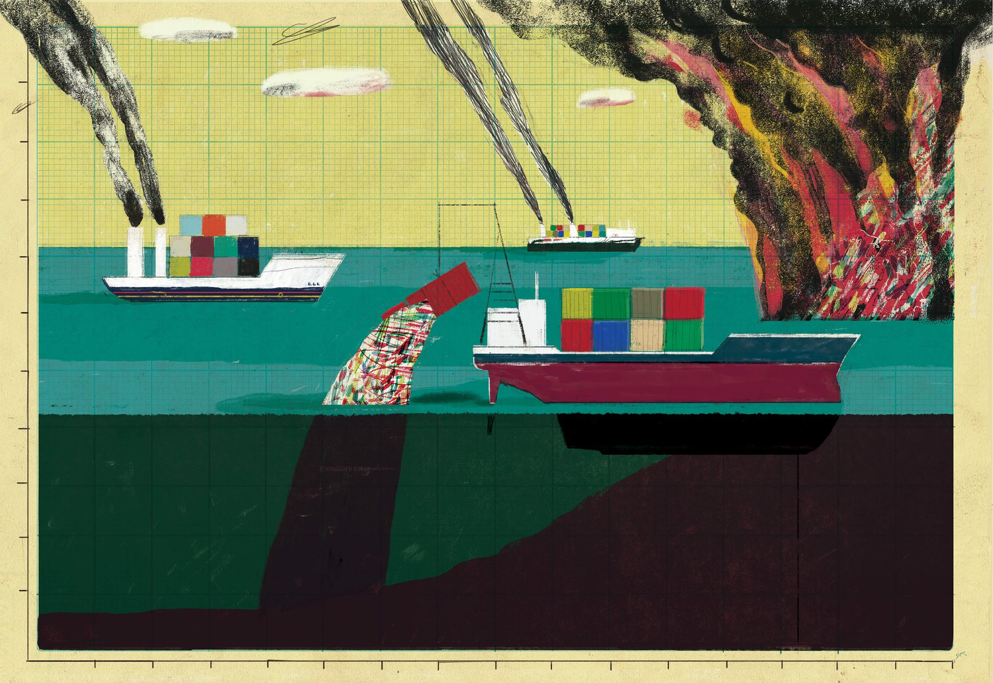 an illustration of three cargo-heavy ships dumping plastic into the coean and spouting smoke into the sky