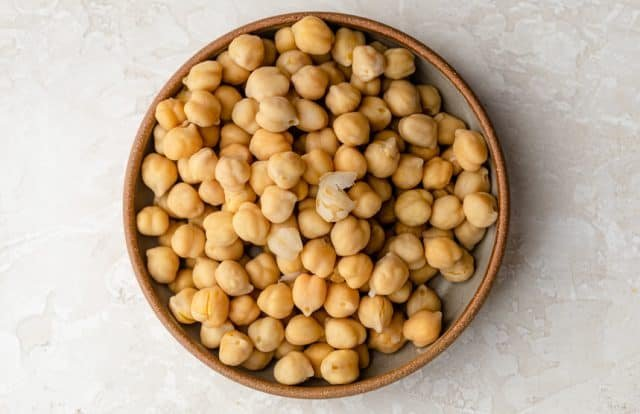 a bowl of chickpeas, also known as garbanzo beans