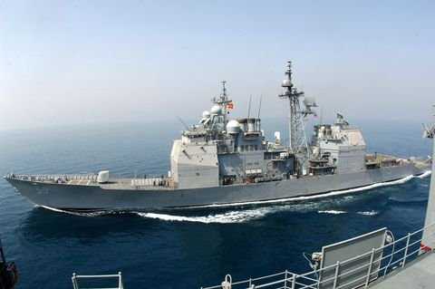 a large military ship on the ocean