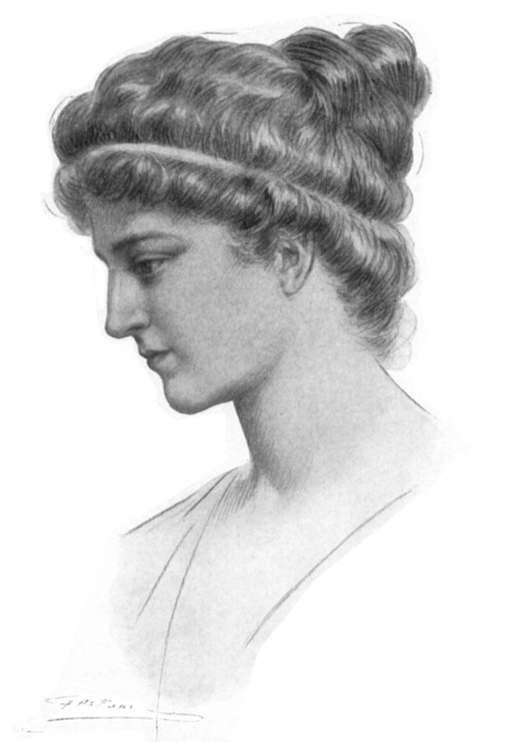 a sketch of a woman with a wavy updo