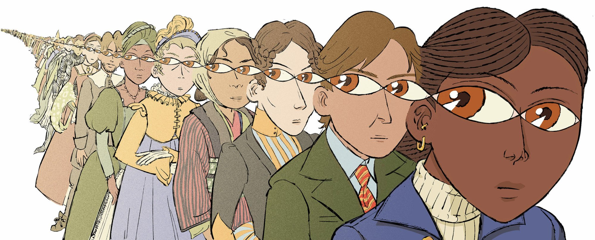 an illustration of an infinite row of humans eying behind them