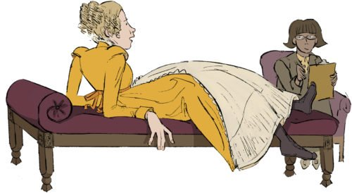 illustration of a woman on a couch speaking to a therapist