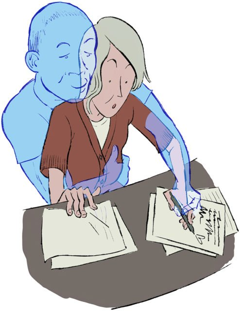 illustration of woman writing with a ghost man holding her hands from behind
