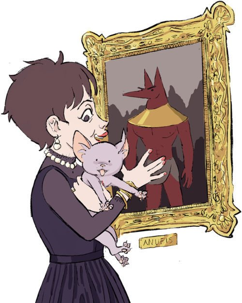 illustration of woman holding a cat-like crature in front of a painting of Anubis