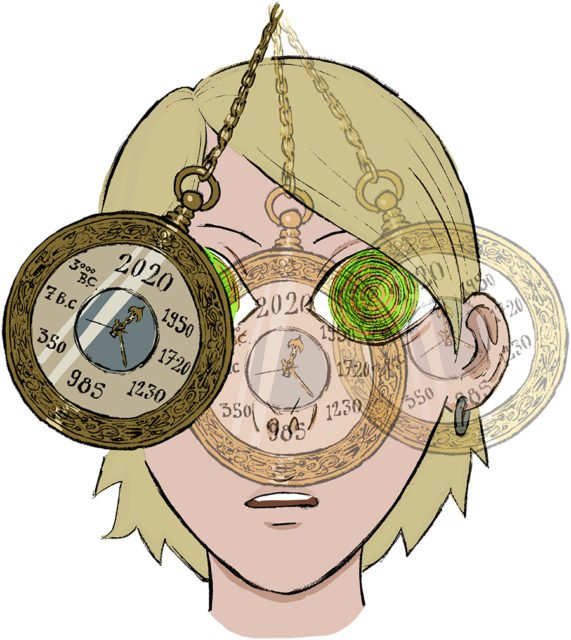 illustration of a person with pendulum clocks swinging in their face