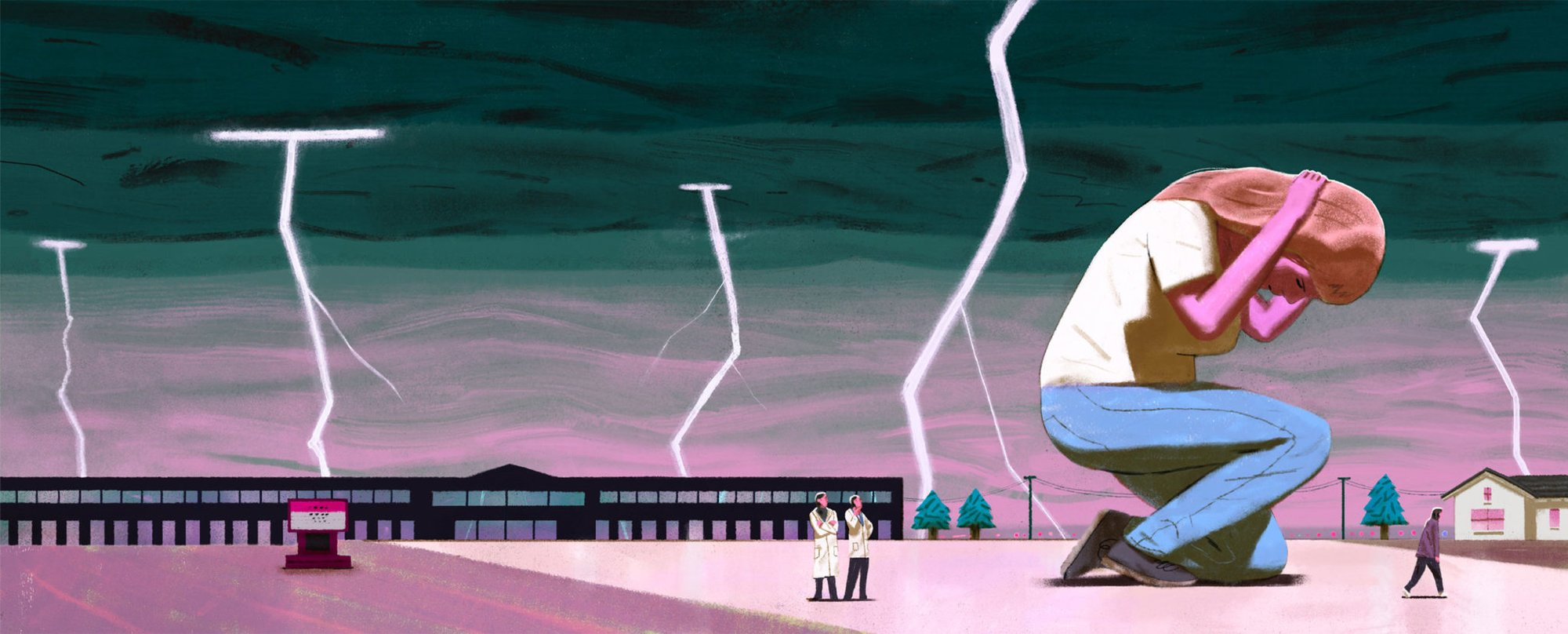 illustration of a person ducking as lightning strikes around the area