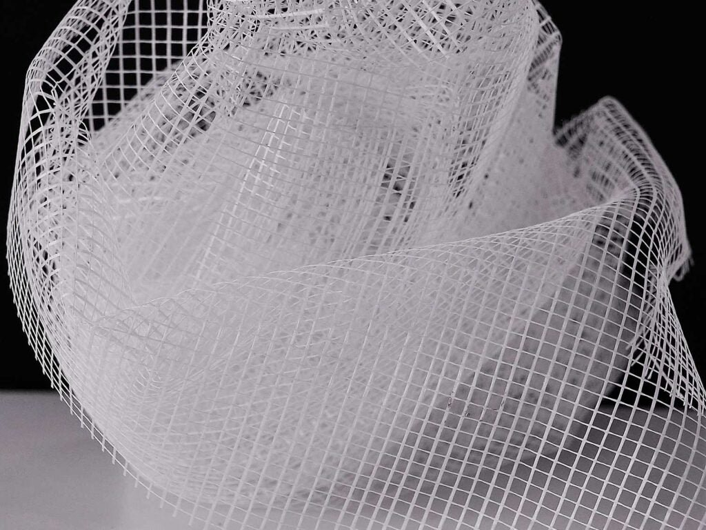 a wad of white netting