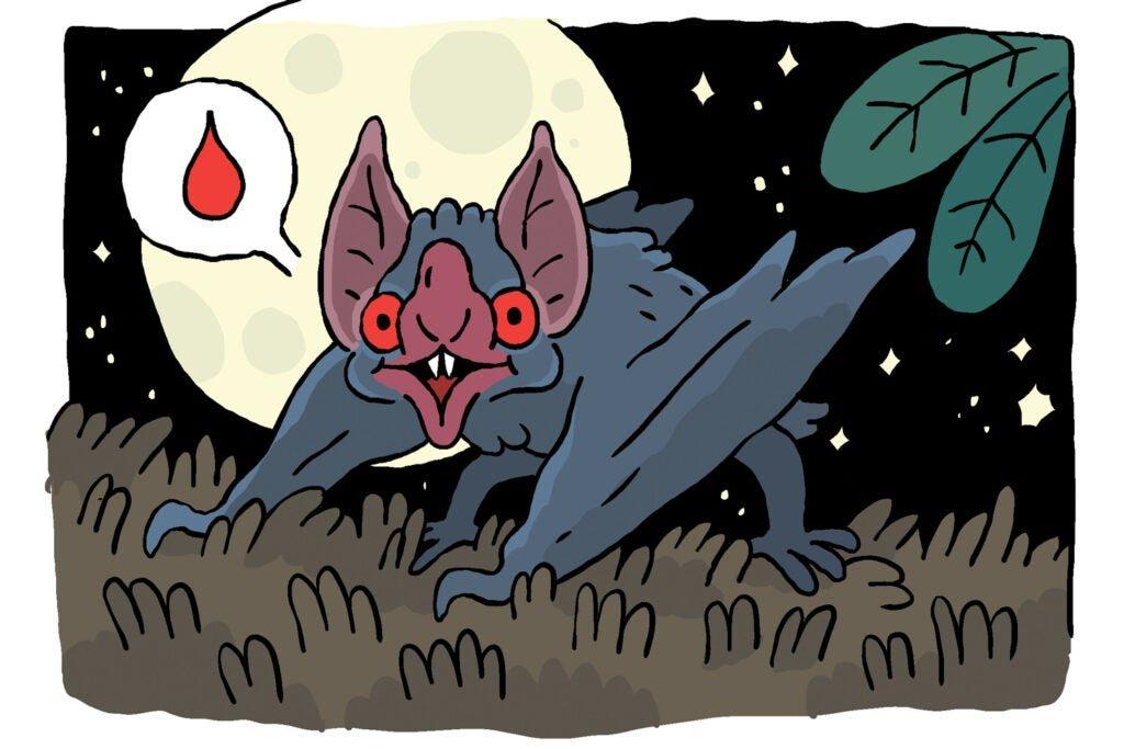 cartoon of happy bat